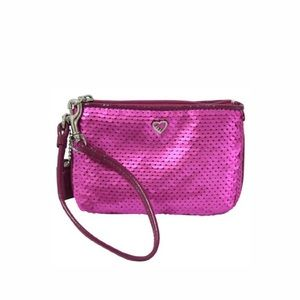 Coach Poppy Sequin Leather Wristlet Bag